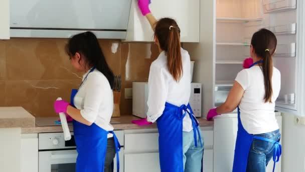 Drei schöne junge Mädchen stehen mit dem Rücken zur Wand und putzen die Küche. Kühlspüle, Backofen und Schränke. Professionelle Reinigung.