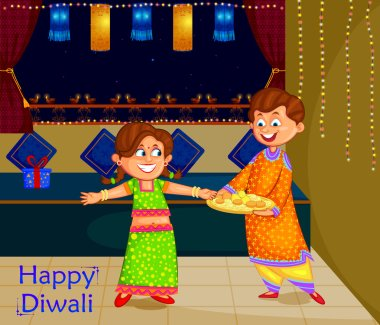 Kids celebrating Diwali and Bhai Dooj festival of India