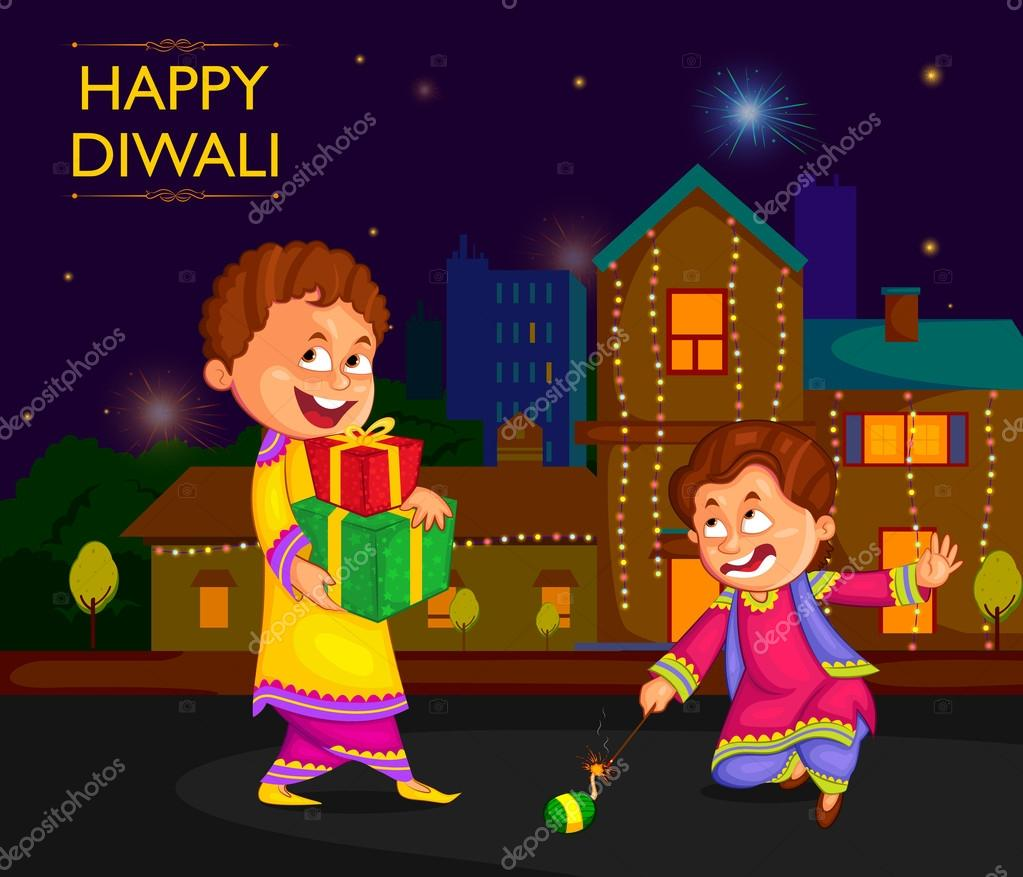 Kids enjoying firecracker celebrating Diwali festival of India ... for diwali animation for kids  555kxo
