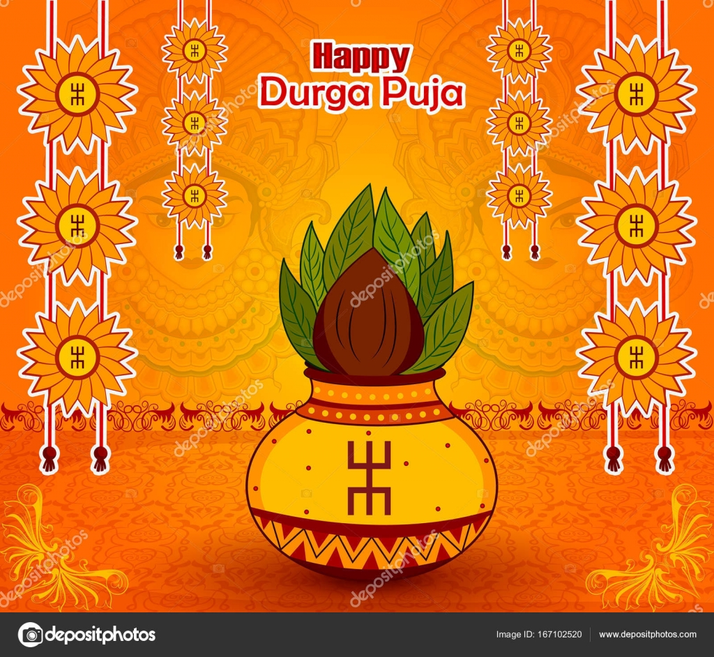 Traditional Kalash On Durga Puja For Happy Dussehra Or Shubh