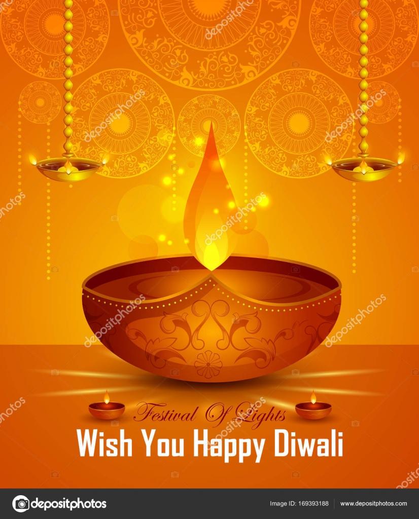 Happy Diwali Light Festival Of India Greeting Background Stock