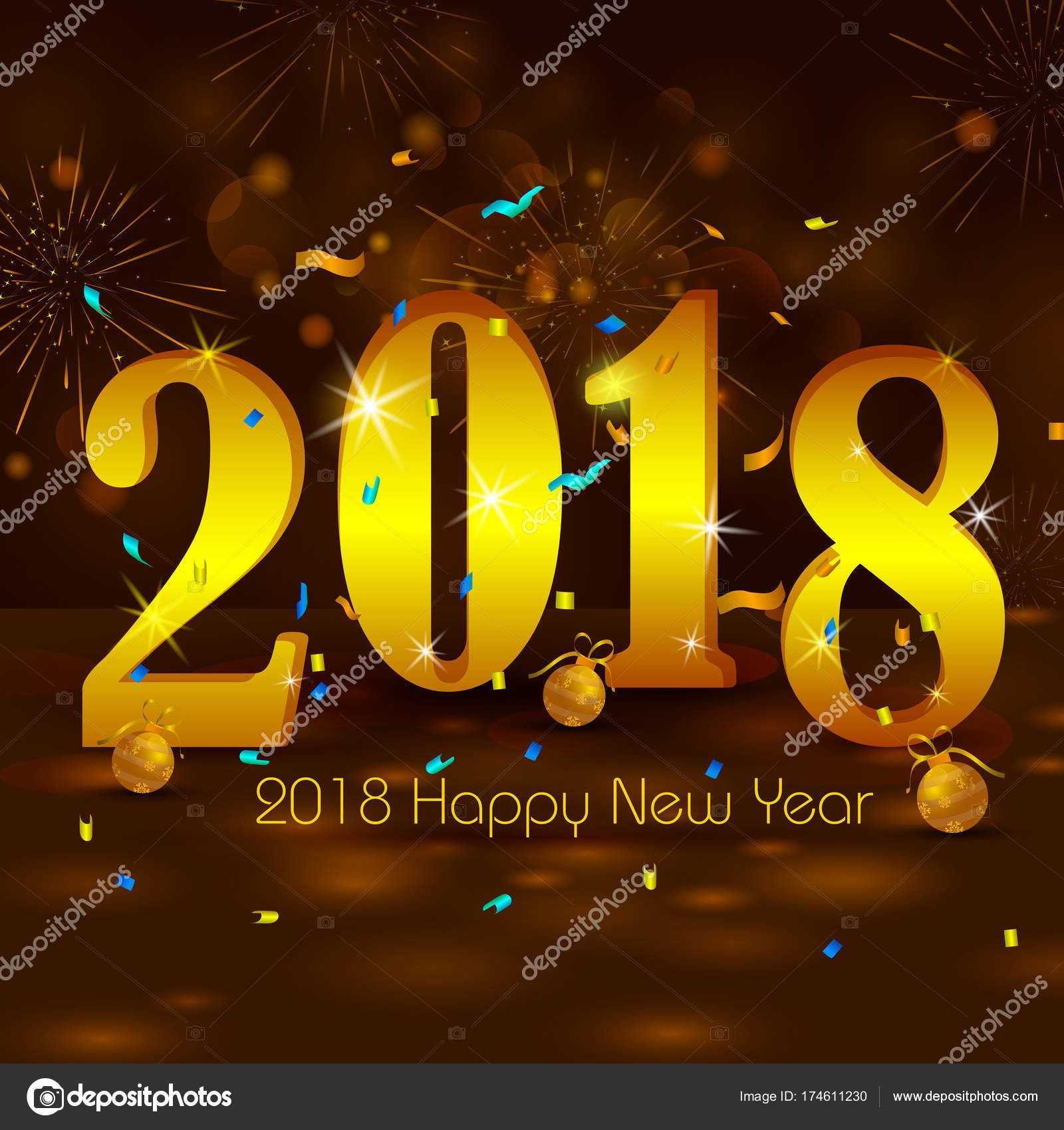 happy new year 2018 wishes greeting card template background design stock vector