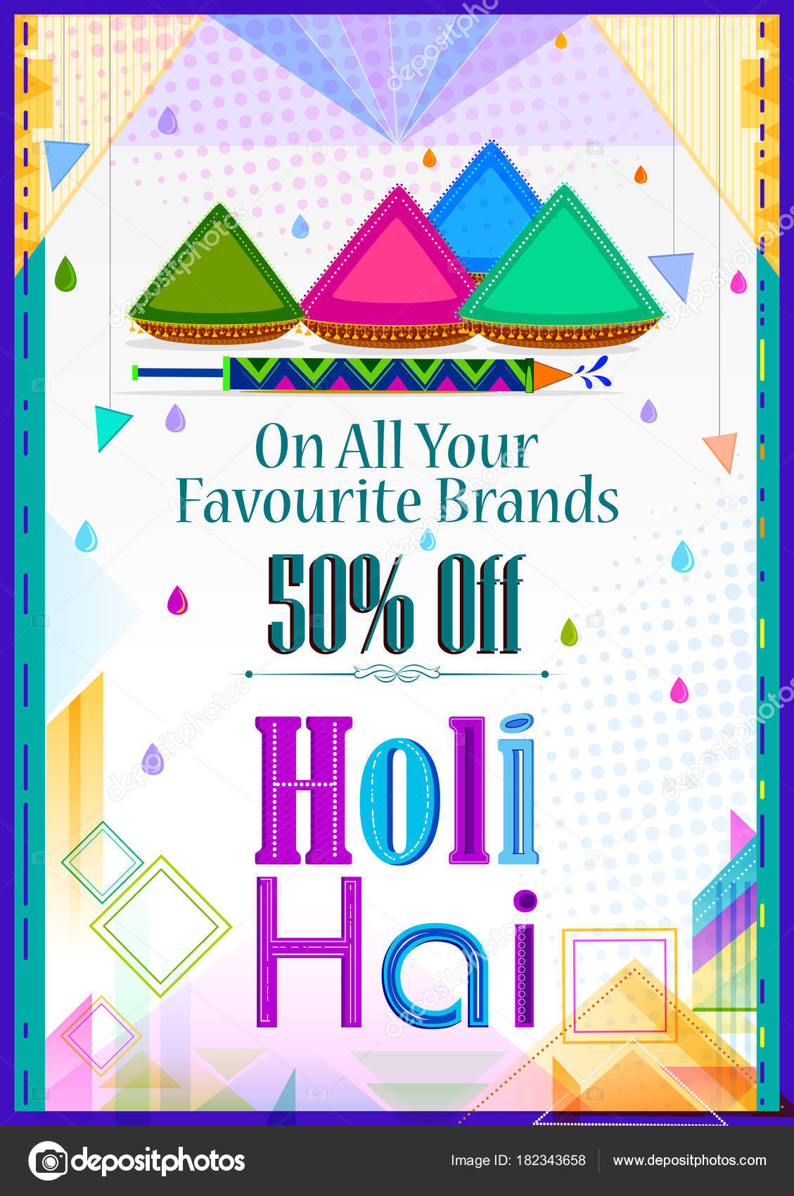 Colorful Traditional Holi Shopping Discount Offer Advertisement Background For Festival Of Colors India In Vector By Stockillustration