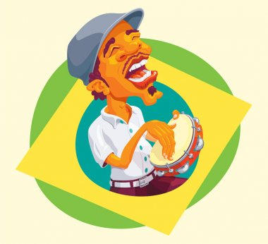 Tambourine player popping up of brazilian flag