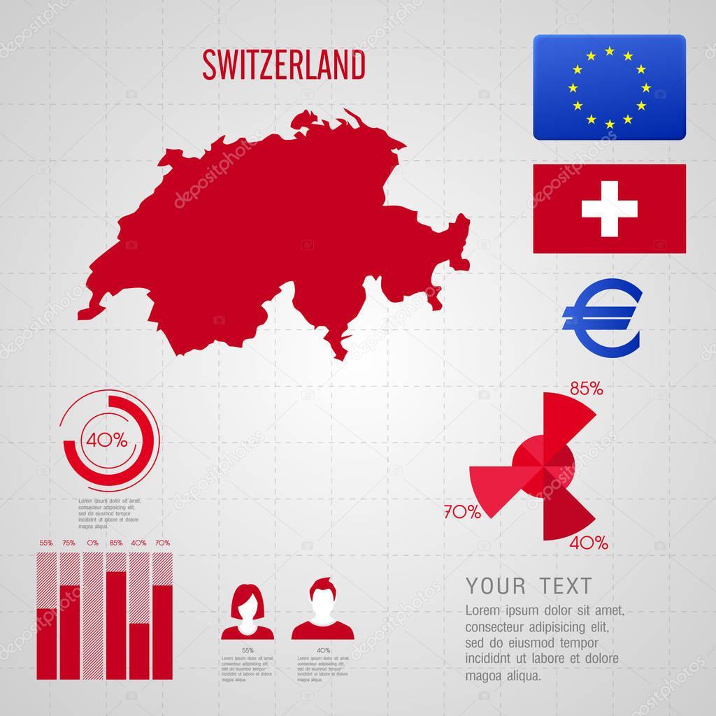 SWITZERLAND flag World Map Travel vector Illustration Stock