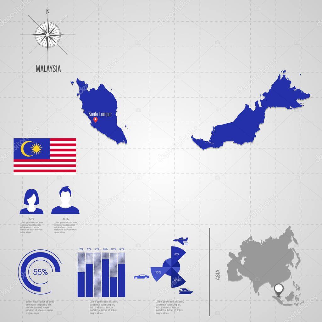 Malaysia On World Map Map: Malaysia-Weltkarte. Reisen-Vector Illustration