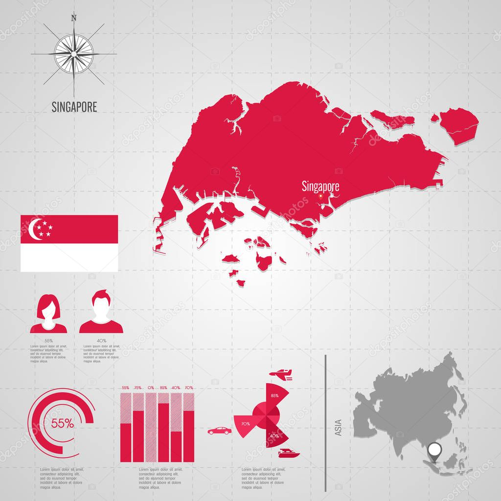 SINGAPORE World Map. Travel vector Illustration — Stock Vector ...