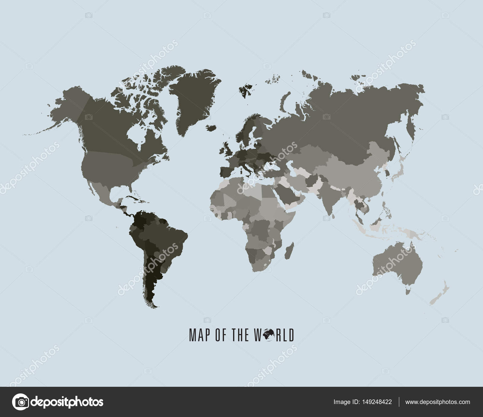 World map with different colored continents - Illustration — Stock ...
