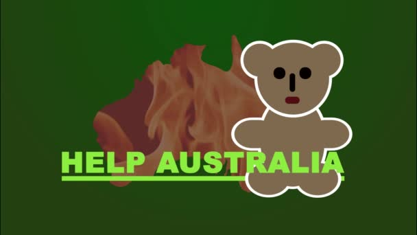 Australien steht in Flammen. Rote Kontur Kontinent Australien mit dem Bild eines Feuerkoalas. Kartographie. Bewegung