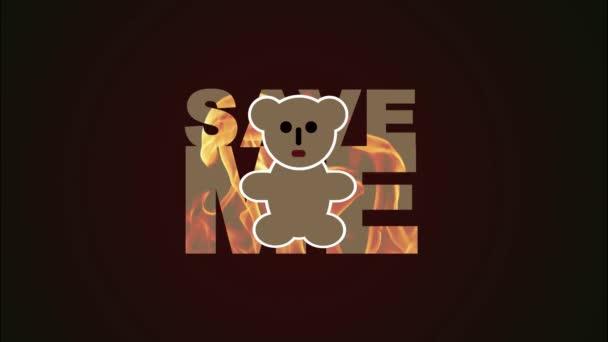 Australien steht in Flammen. Speichern Sie mich als Kontur mit dem Bild eines Feuers auf dunkelrotem Hintergrund. Kartographie. Bewegtes Video