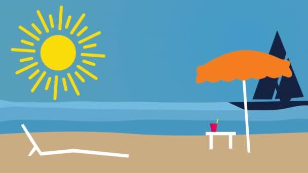 Homokos strand vitorlás hajóval. Nyári és utazási nyaralás koncepció