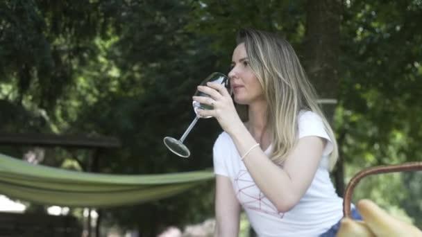 Dívka na pikniku pije víno, odpočívá s rodinou. Šťastné rodiny dělá piknik venkovní posezení na louce.
