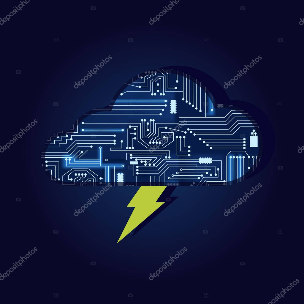 Lightning and cloud with electronic circuit