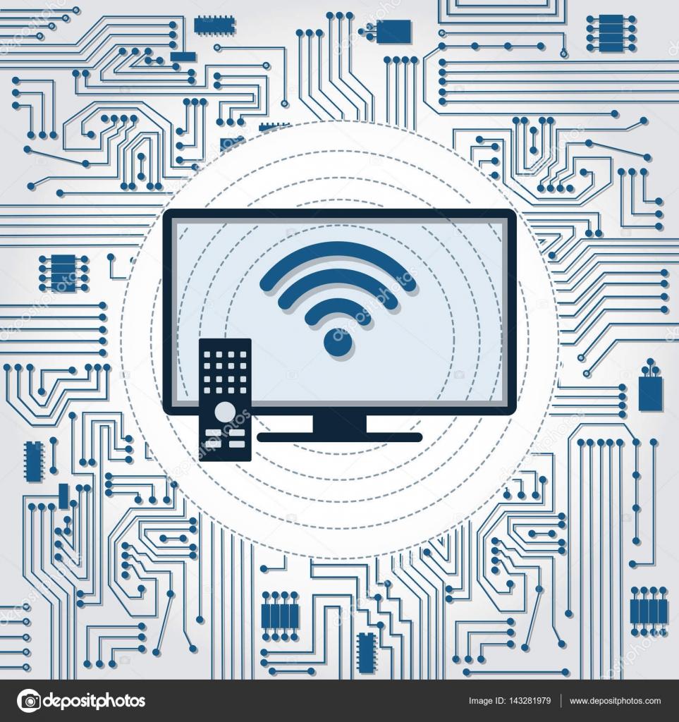Circuito Wifi : Circuito de tv wifi e eletrônicos u2014 vetores de stock © drical