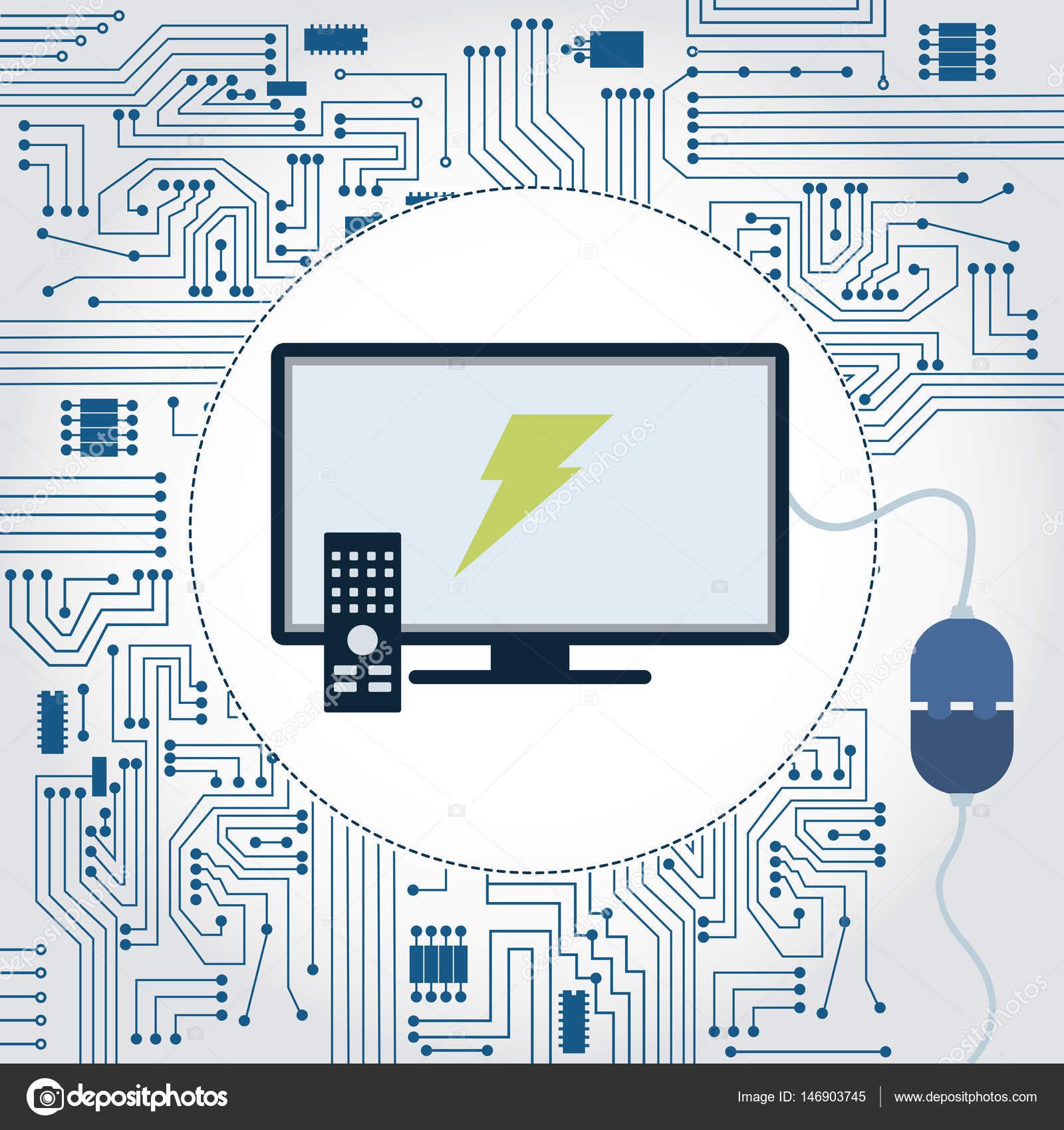 TV, Socket und Elektronik Schaltung — Stockvektor © drical #146903745