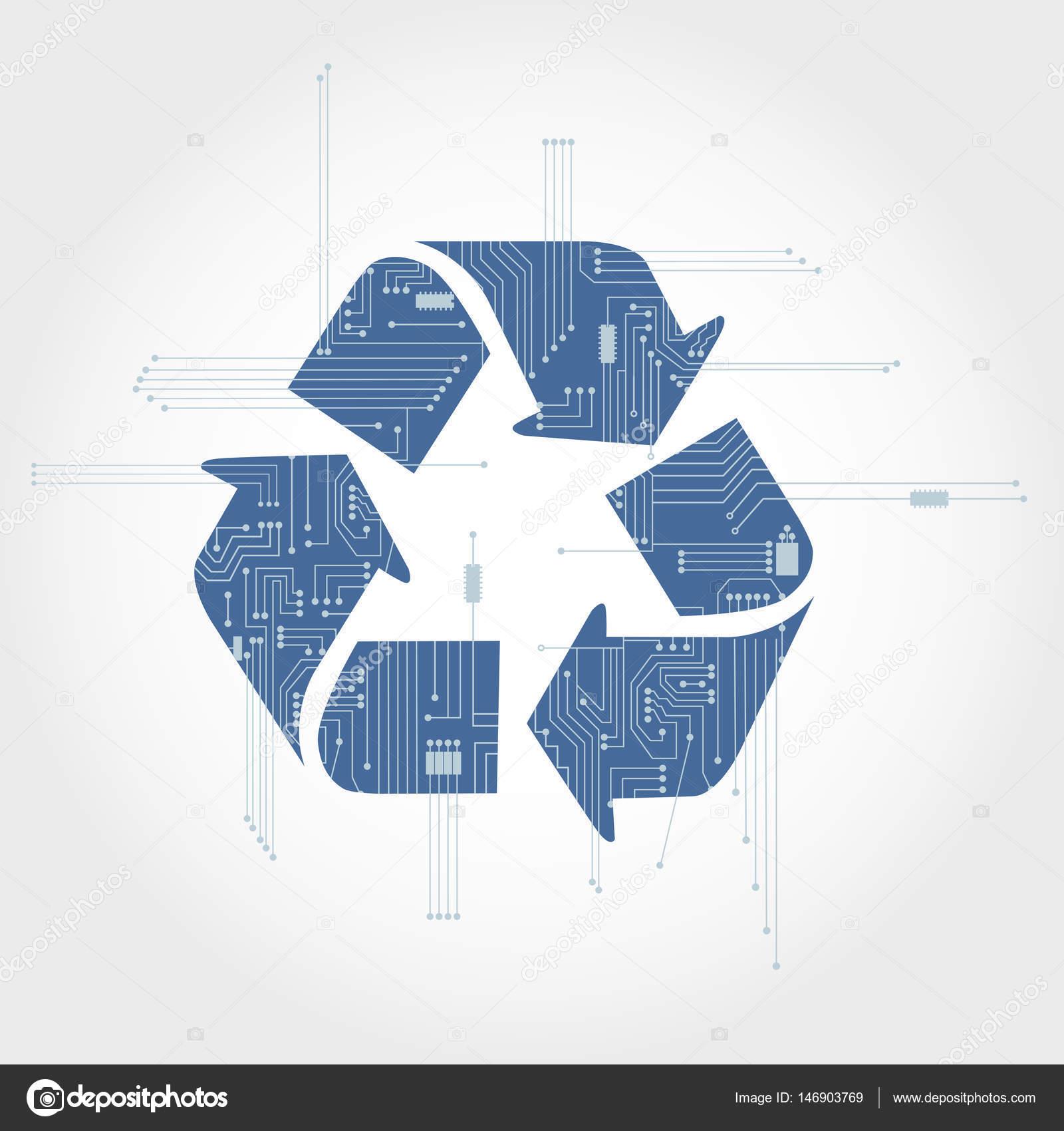 Elektronik Schaltung und Recycling symbol — Stockvektor © drical ...