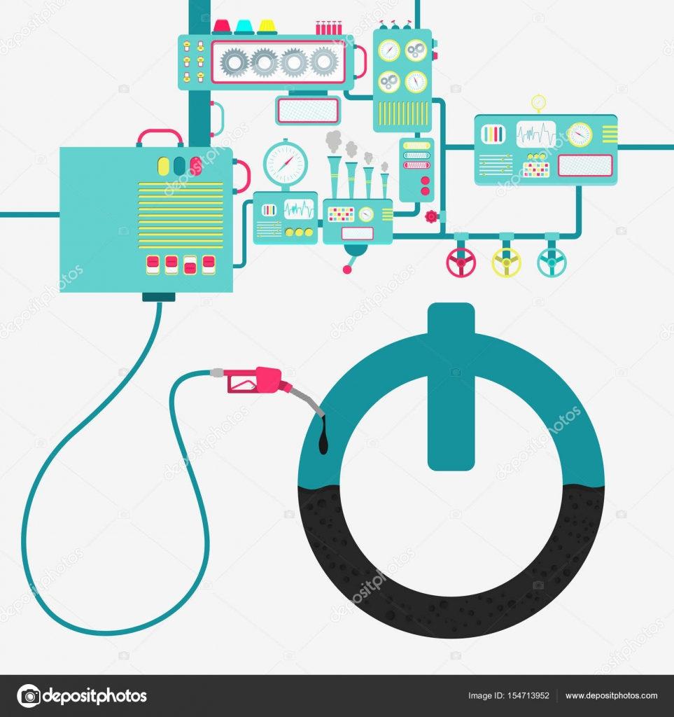 Button on off and oil production stock vector drical 154713952 machinery of factory refining oil and refueling a button on off sign button symbol being filled by a oil with gas pump vector by drical biocorpaavc Choice Image