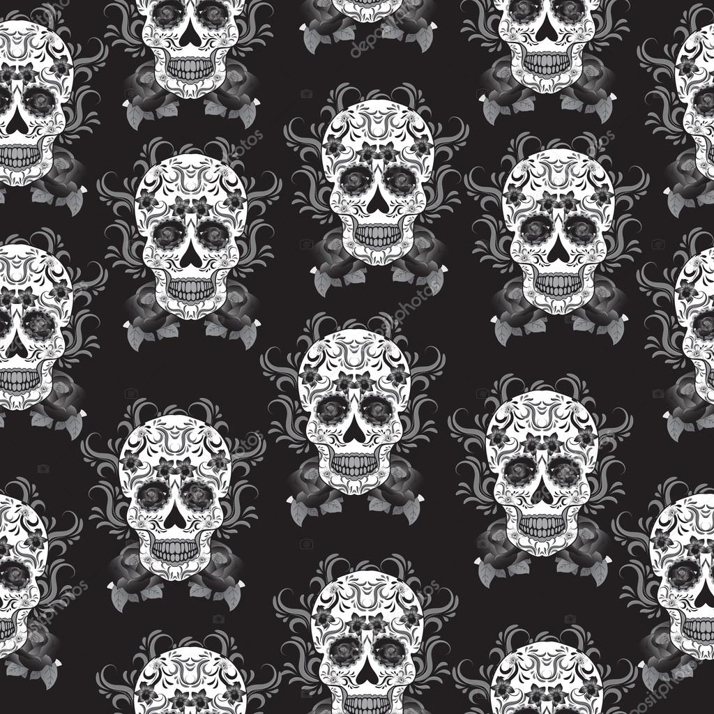 Day of the Dead celebration, a festival in Mexico. Sugar Skull seamless pattern, skeleton background, texture, wallpaper. Skull rock background.