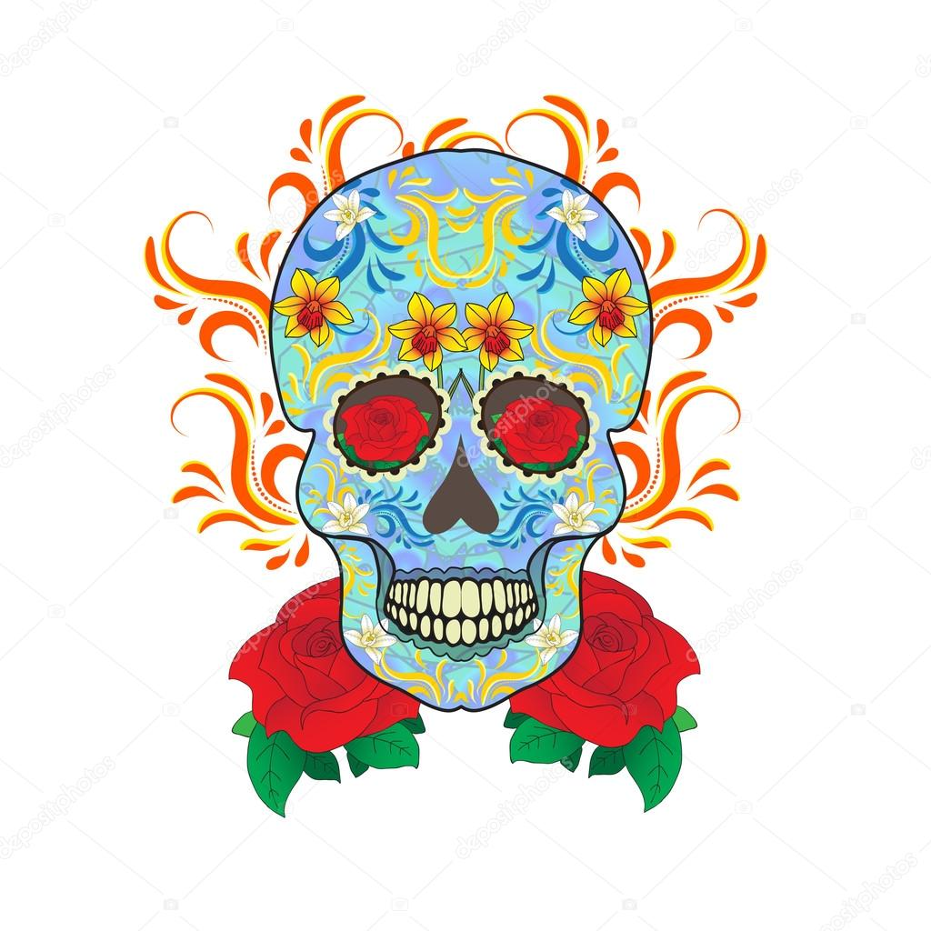 Day of the dead a mexican festival dia de los muertos greeting day of the dead celebration a festival in mexico sugar skull on a white background skull tattoo old school vector illustration vector by amelie1 m4hsunfo