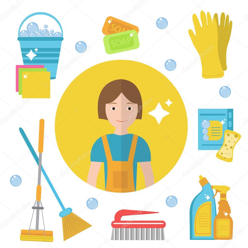 Conjunto de iconos de herramientas de limpieza. Personal de limpieza ...