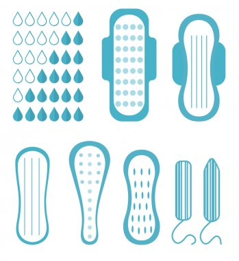 Menstruation, feminine hygiene set. Pads, pantyliners, tampons. Female hygiene products. Women's hygiene. Flat style. Vector illustration.