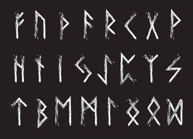 Rune set of letters, runes alphabet. Runic alphabet. Writing ancient. Futhark. Vector illustration