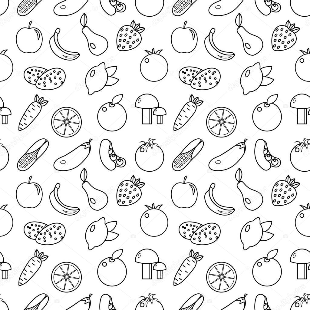 Line Drawing Styles : Fruits and vegetables line style seamless pattern