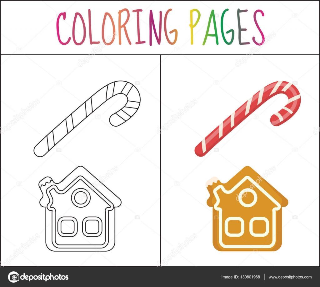 Página de libro para colorear. Casa de caña y pan de jengibre de ...