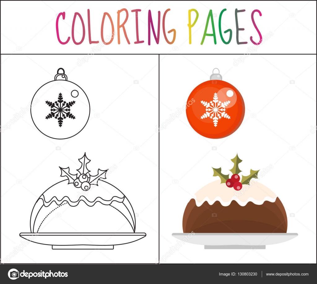 Página de libro para colorear. Pudín de Navidad y una pelota ...