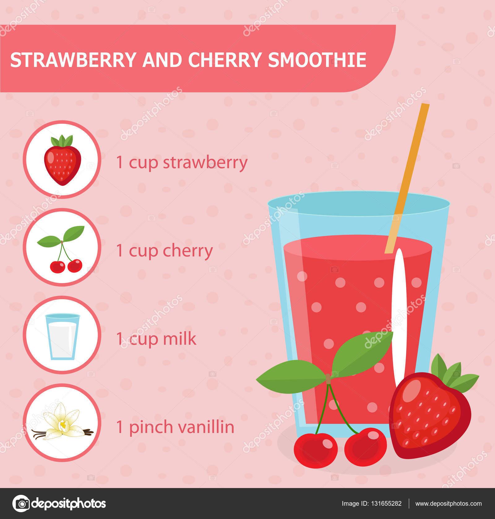 Receta de smoothie de fresa y cereza con ingredientes Batidos