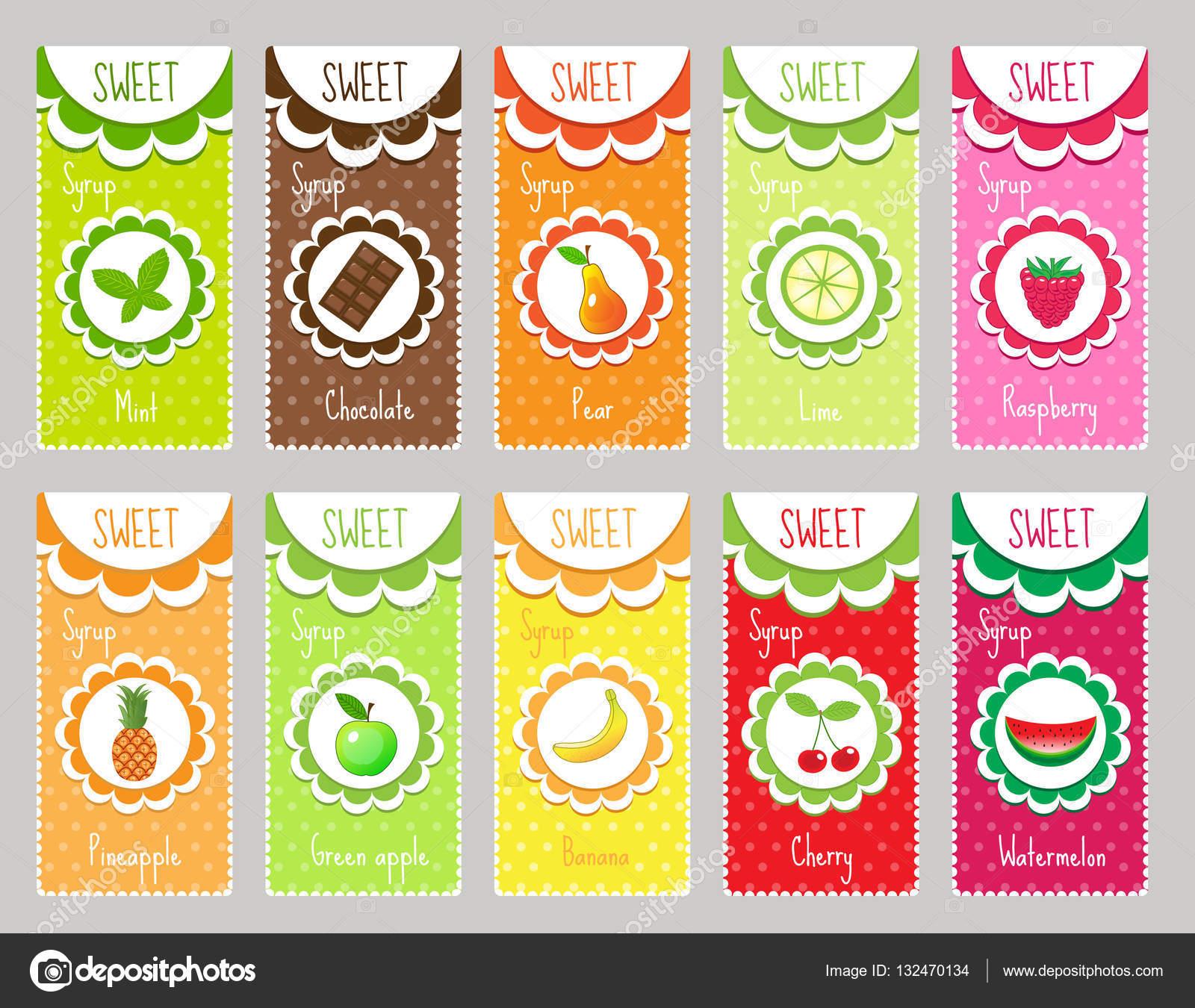 Etiquetas fruta Set, emblema. Plantilla para tu diseño. Ilustración ...