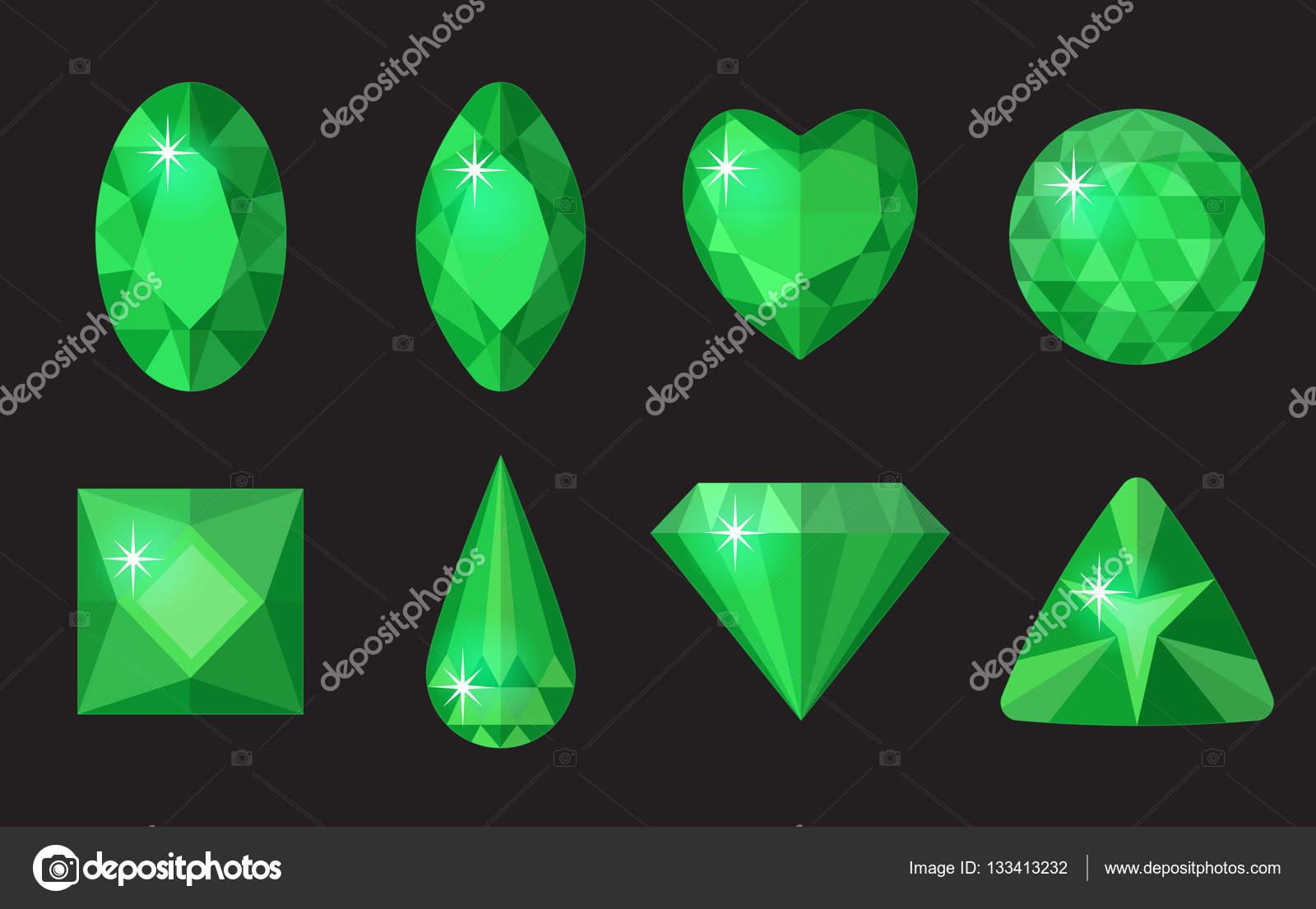 Set de gemas verdes. Joyería, colección de cristales aislado en ...