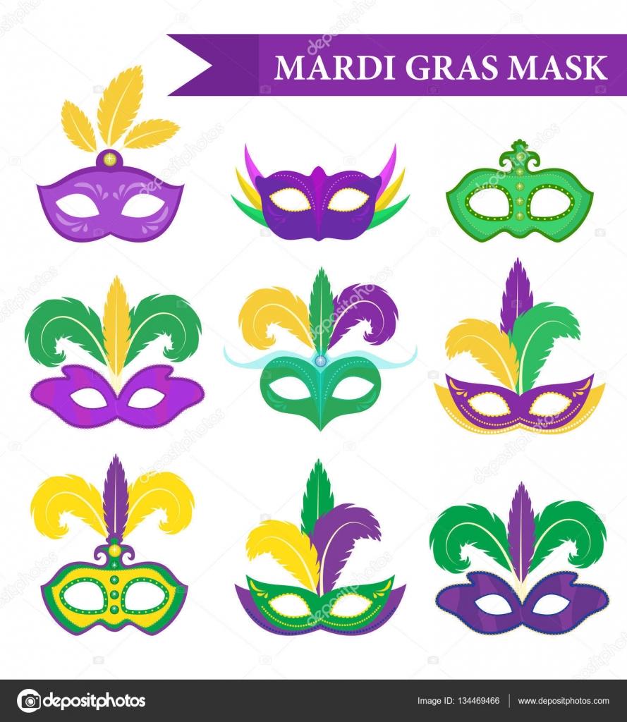 Karneval Maske Set Design Element Flachen Stil Sammlung Masken