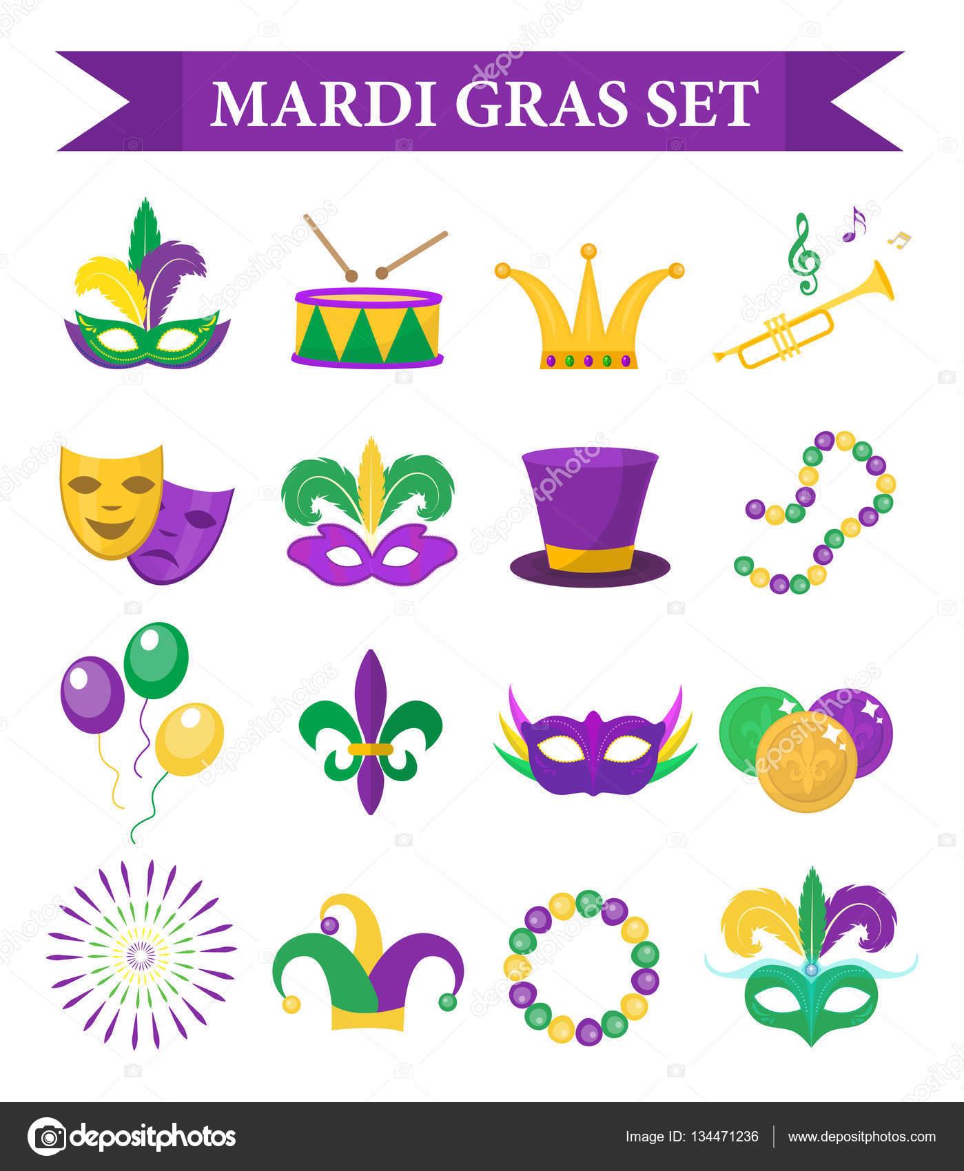 Fasching Karneval Set Symbole Gestaltungselement Flachen Stil
