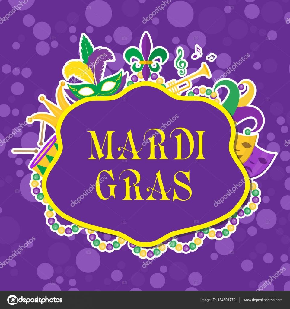 mardi gras poster with mask beads trumpet drum fleur de lis