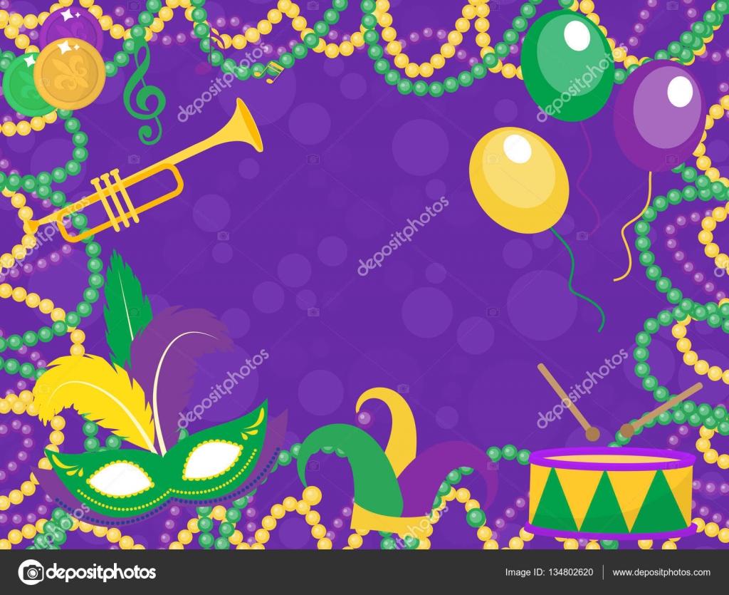 poster mit maske, perlen, trompete, trommel, fleur de lis, jester, Einladungen