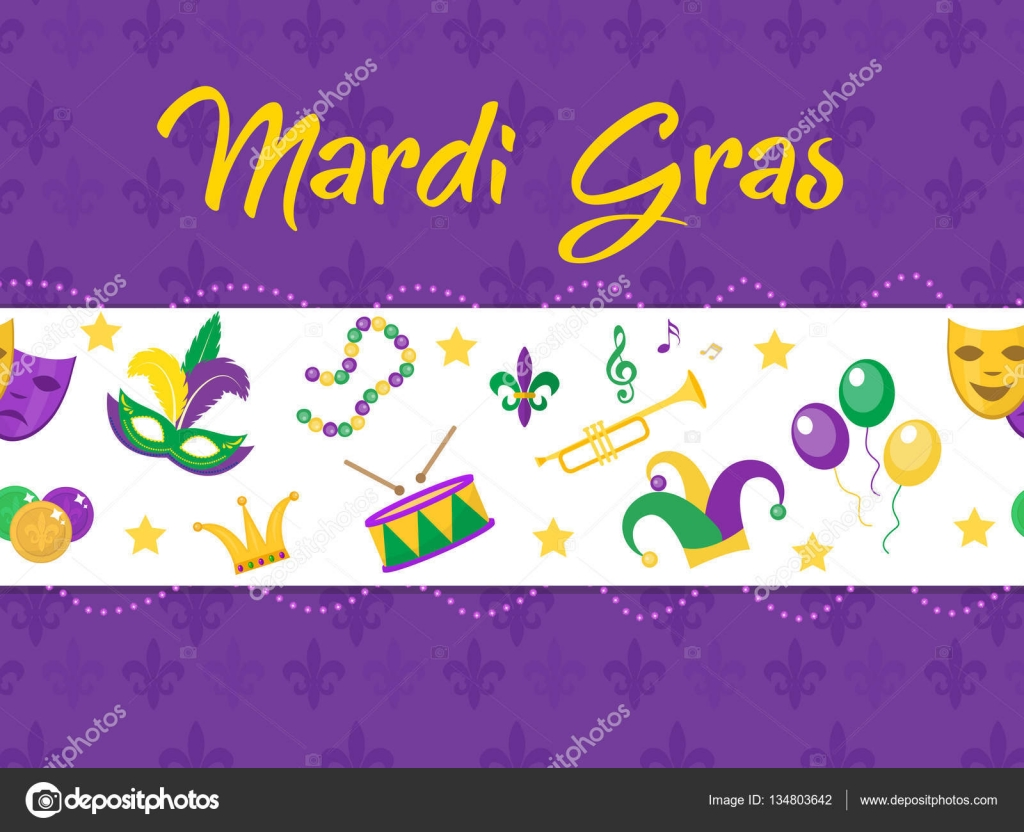 Karneval Poster Mit Maske Perlen Trompete Trommel Fleur De Lis