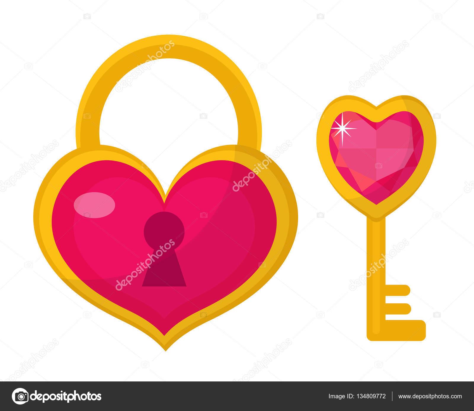 Serratura e chiave icona del cuore design piatto giorno - Colore del giorno di san valentino ...