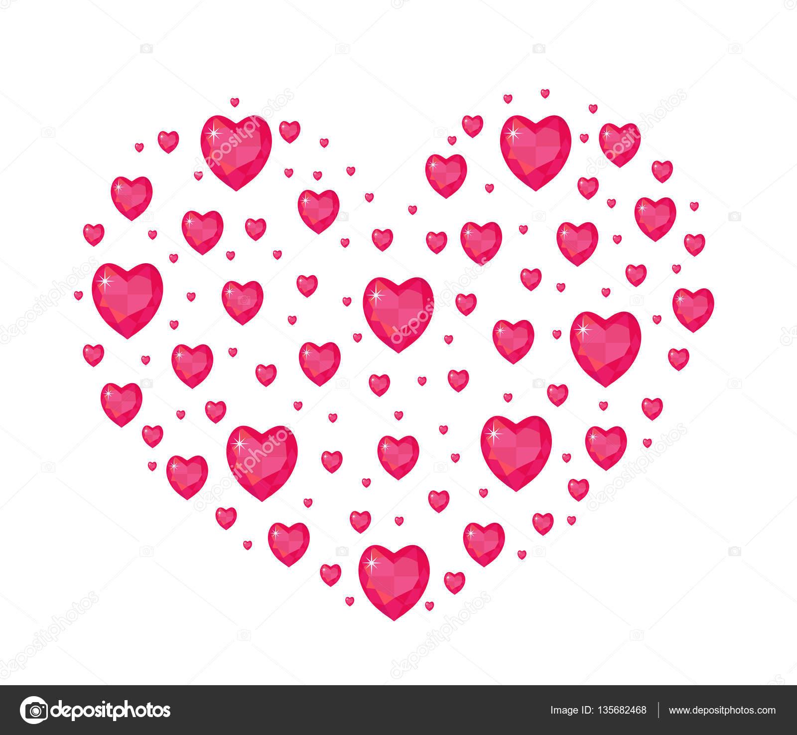 Juwel Herzform Valentinstag Liebe Romantik Konzept Vorlage Für