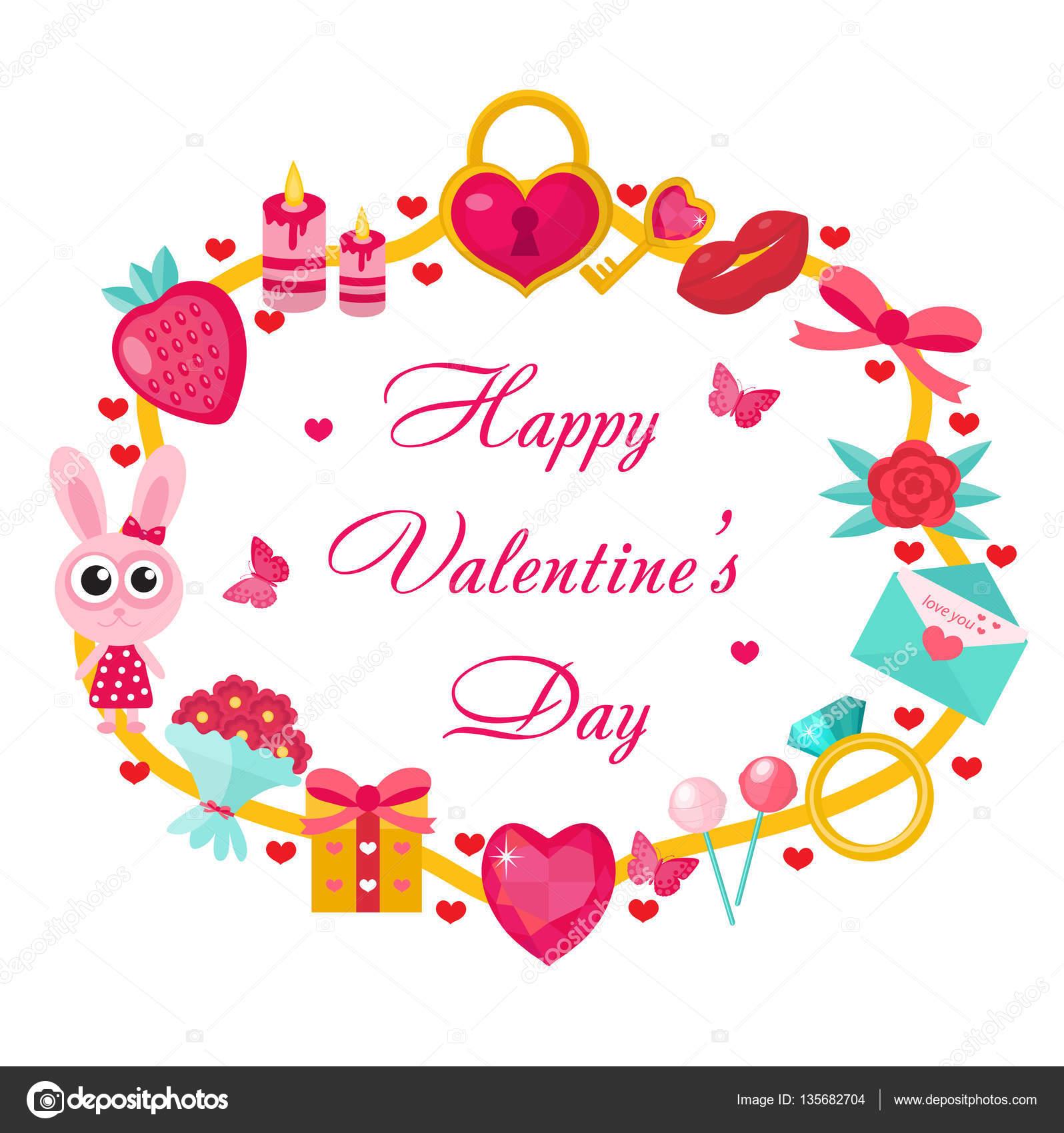 Valentinstag-Vorlage für Karten, Plakate, Flyer. Liebe, romantische ...