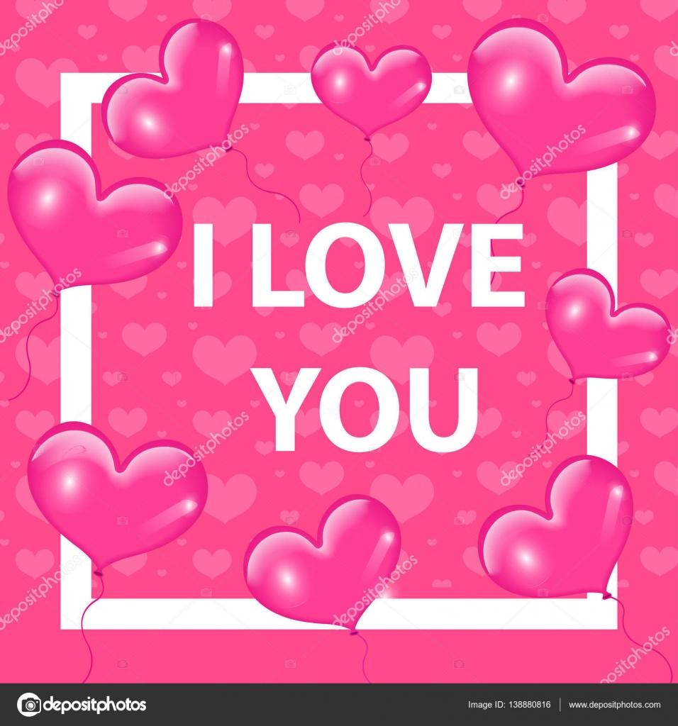 Happy Valentines Day Karte, Vorlage, Einladung mit realistischen 3d ...