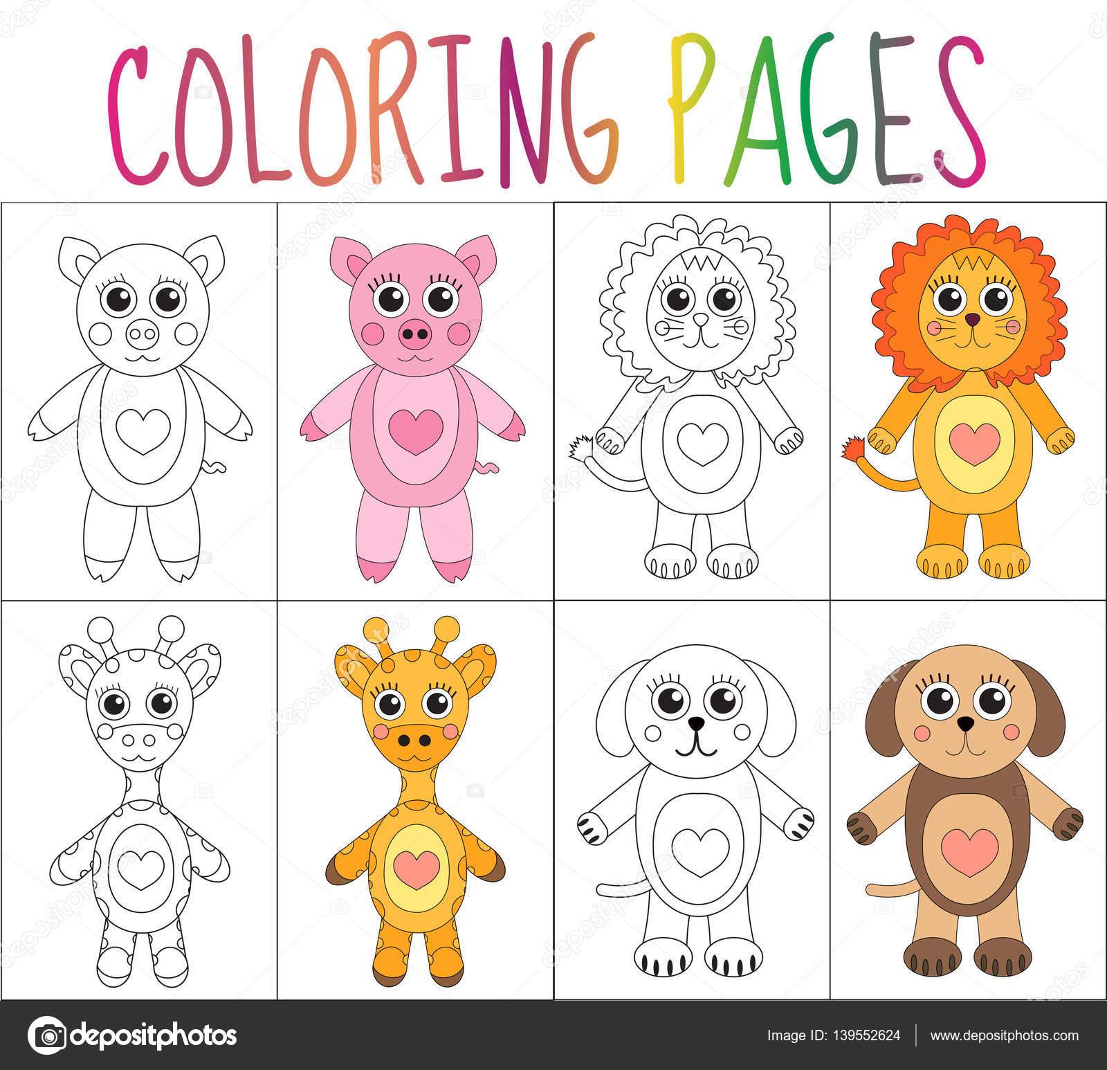 Para colorear juego de páginas de libro. Colección de animales ...