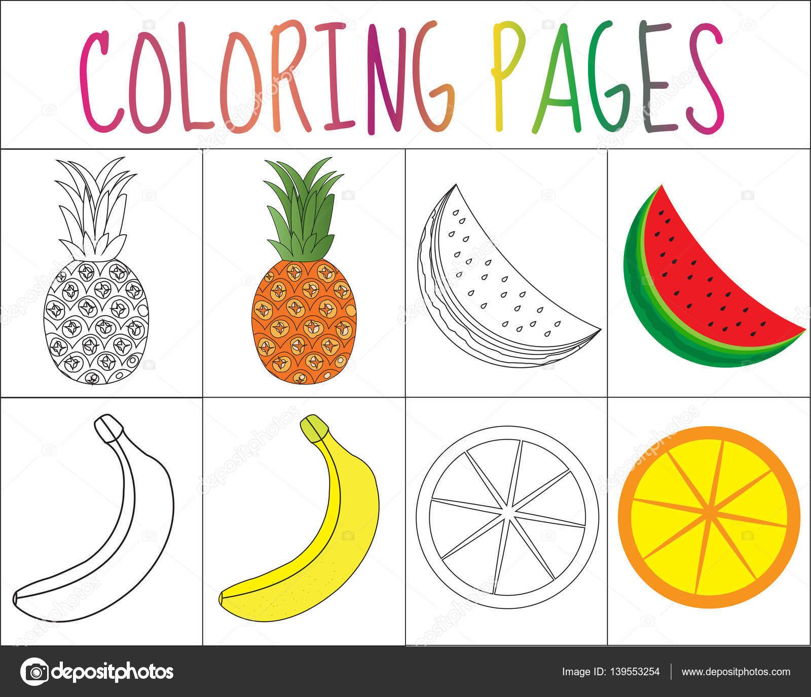 Libro de colorear, juego de páginas. Colección de frutos. Versión ...