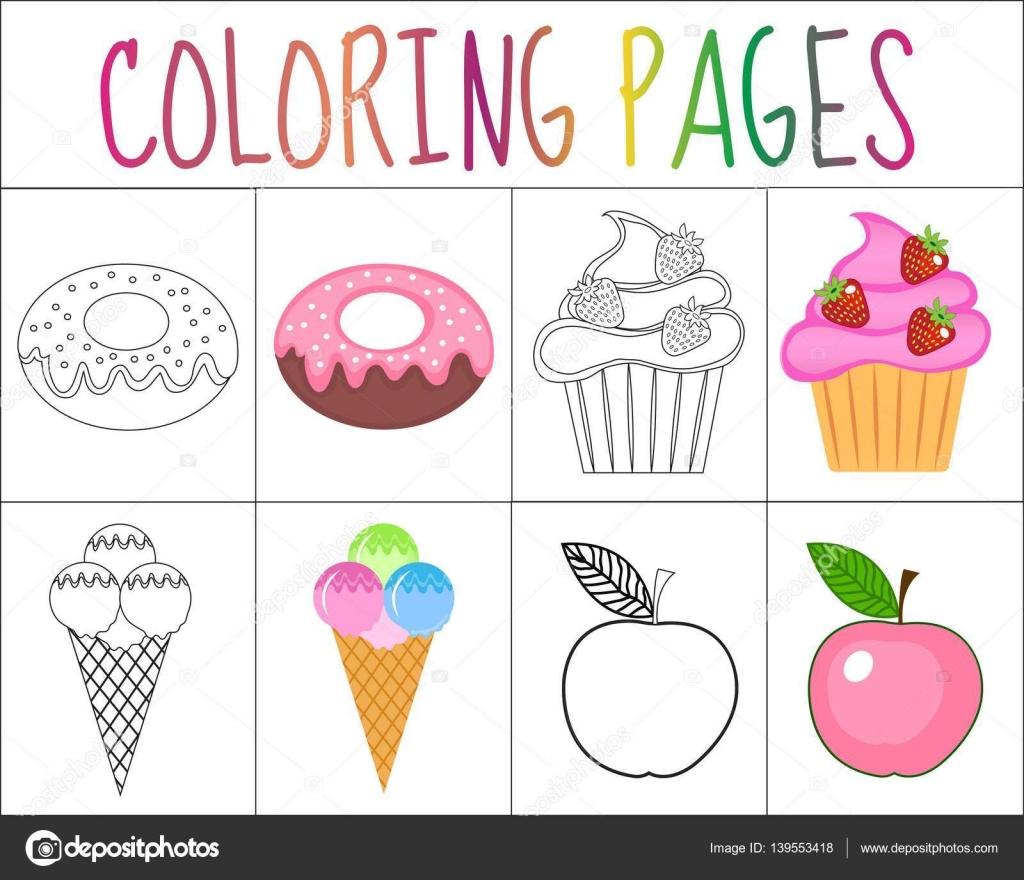 Para colorear juego de páginas de libro. Colección de dulces ...