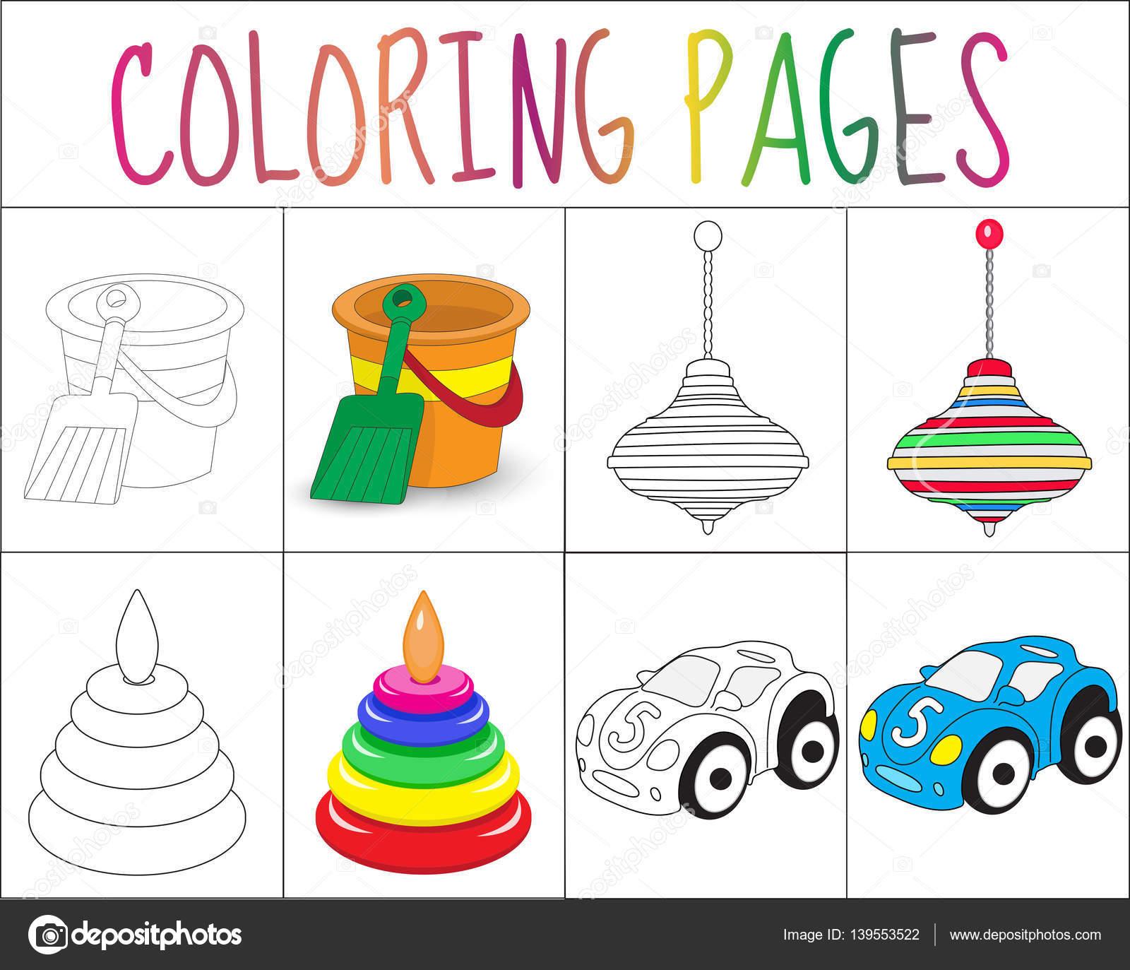 Para colorear juego de páginas de libro. Juguetes de colección ...