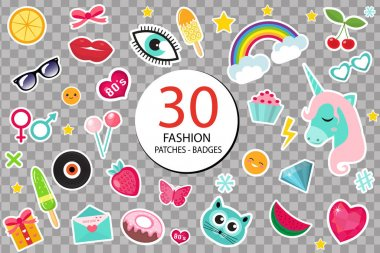 Fashion set of patches 80s comic style. Pins, badges and stickers Collection cartoon pop art with a unicorn, rainbow, lips, emoji. Isolated on transparent background. Vector illustration.