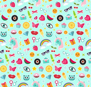 Fashion seamless pattern of patches 80s comic style. Pins, badges and stickers Collection cartoon pop art with a unicorn, rainbow, lips, emoji. Vector illustration.