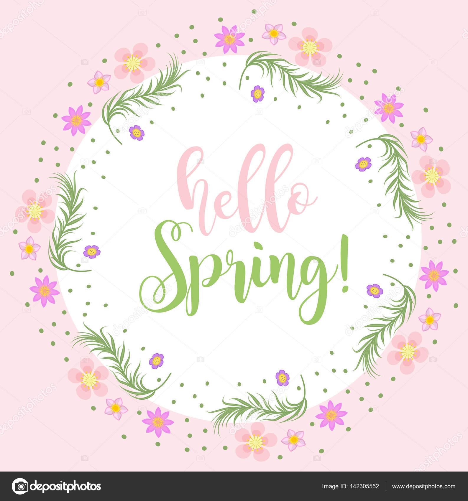 Hallo Frühling Blumenrahmen für Text, isoliert auf weißem ...