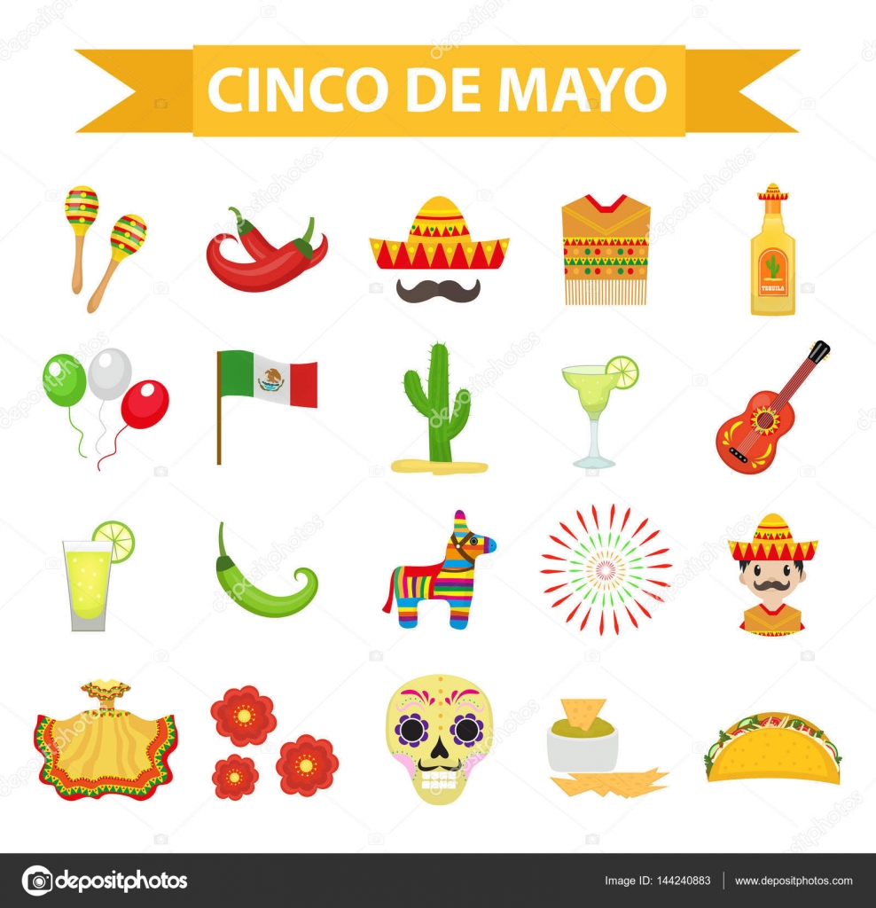 Cinco de Mayo celebration in Mexico icons set design element flat