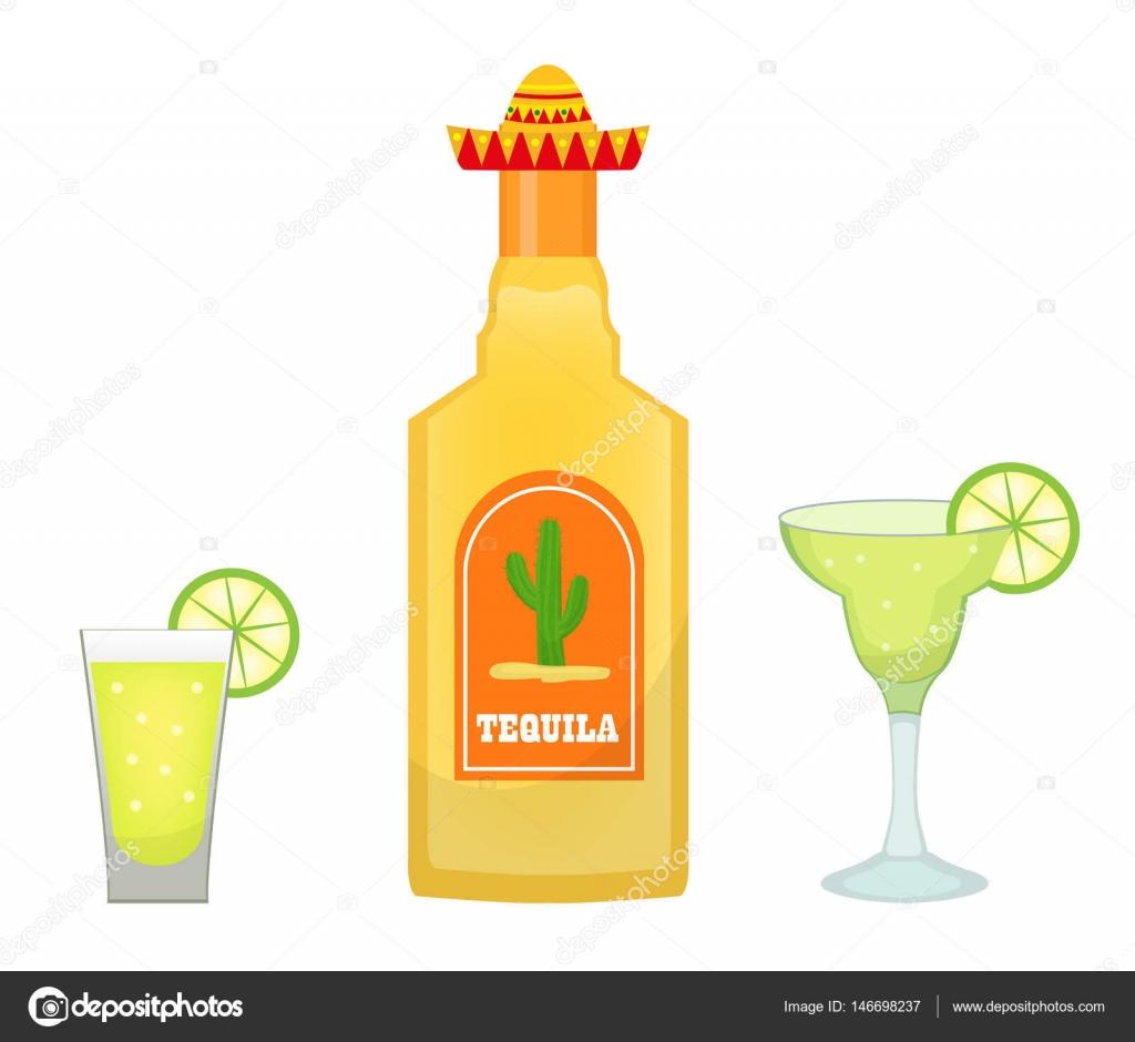 Tequila-Flasche mit Brille und Stücke von Kalk Symbol flach ...